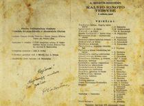 """Spektaklio """"Kalvio Ignoto teisybė"""" programa, 1953 m"""